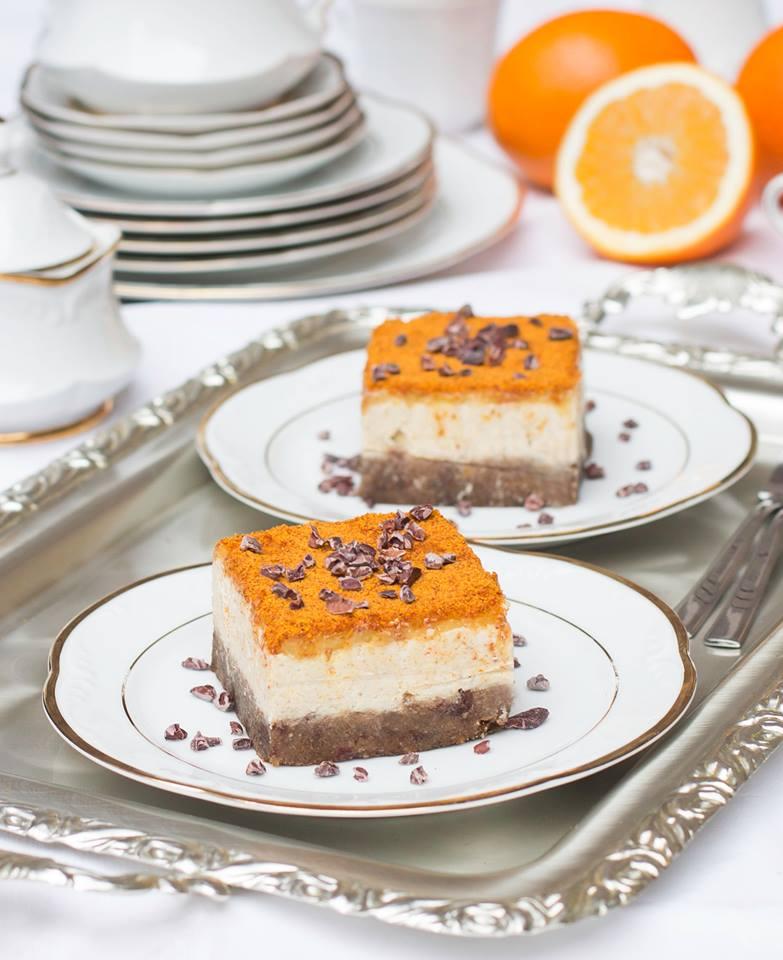 Roher Cashew Orangen Kuchen