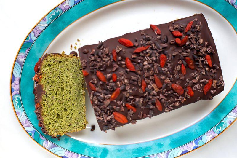 Matcha Chiasamen Kuchen