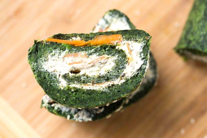Vegane Gemueserolle mit Spinat